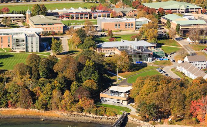 Aerial shot of Bristol RI waterfront campus