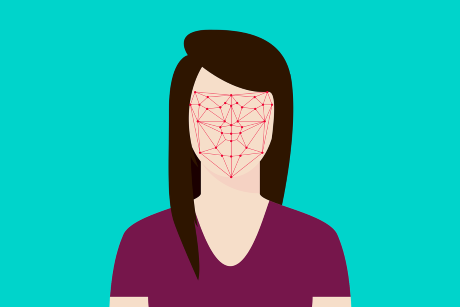 Drawing of person with points and lines over facial area