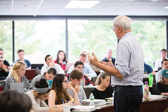 Professor speaking to students