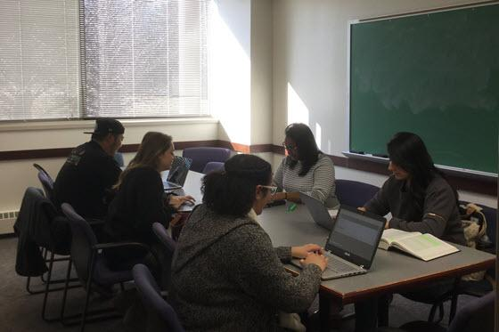Students working together in a study room