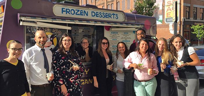 Photo of BSU Clinic students enjoying some frozen desserts
